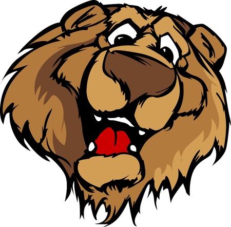 Bear Mascot with Cute Face Cartoon Vector Image