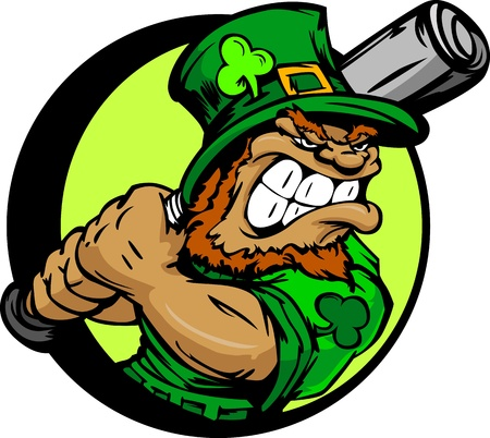 Baseball Cartoon Leprechaun on St Patricks Day Holiday Vector Illustration Vector