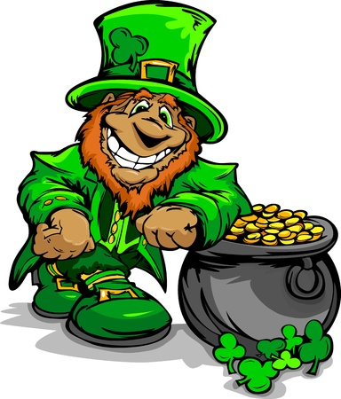 Happy Cartoon Leprechaun on St Patricks Day Holiday Leaning of  a Pot of Gold Vector Illustration Vector