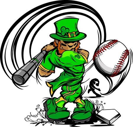 baseball cartoon: Baseball Cartoon Leprechaun on St Patricks Day Holiday Vector Illustration