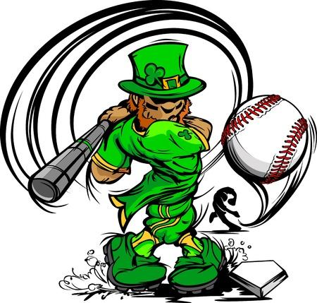 Baseball Cartoon Leprechaun on St Patricks Day Holiday Vector Illustration Stock Vector - 12050555