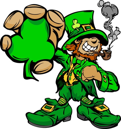 st  patrick's: Happy Cartoon Leprechaun on St Patricks Day Holiday Vector Illustration