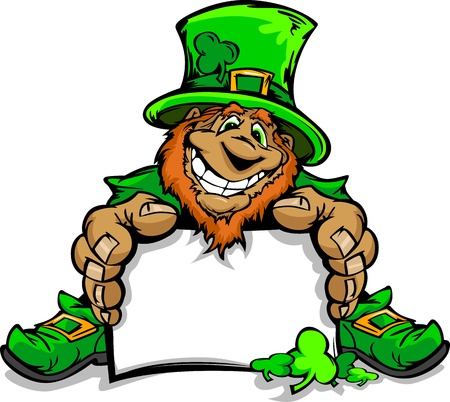 leprechaun hat: Happy Cartoon Leprechaun on St Patricks Day Holiday Vector Illustration