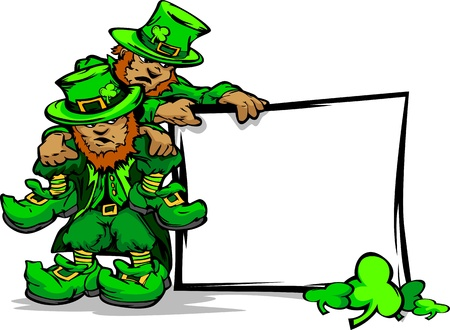 Two Cartoon Leprechauns on St Patricks Day Holiday Vector Illustration Vector