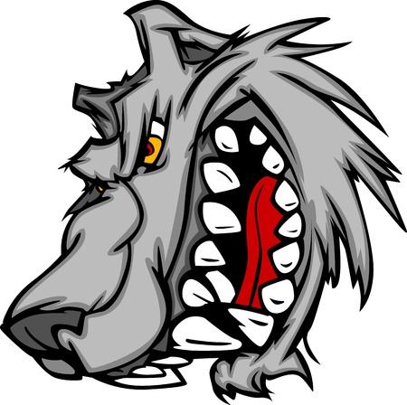 lobo feroz: Imagen de la historieta del vector de un gru�ido mascota del lobo Cabeza