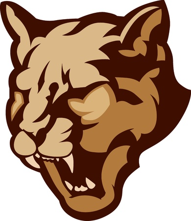 Graphic Mascot Vector Image of a Cougar Head Vector