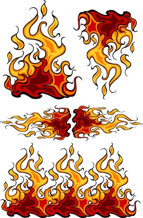 blazing: Fire Flames Flaming Vector Illustrations  Illustration