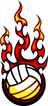 pelota de voley: Flaming Voleibol Vector Bola Imagen quema con llamas de fuego Vectores