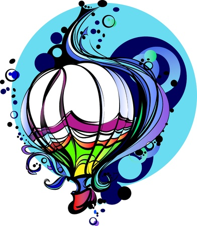 Colorful Flying Hot Air Balloon Graphic Vector Image Çizim