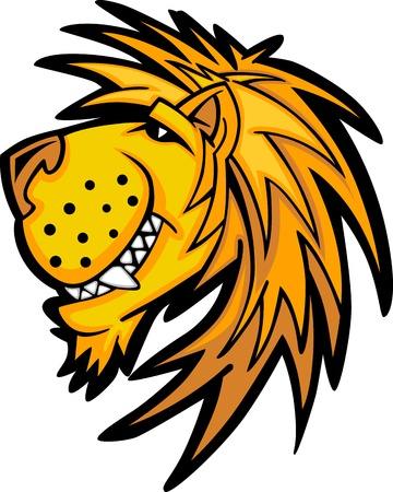 animal head: Lion Mascot with Cute Face Cartoon Vector Image Illustration
