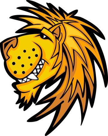 Mascot Leone con Carino immagine Vector Cartoon Viso Archivio Fotografico - 12195972