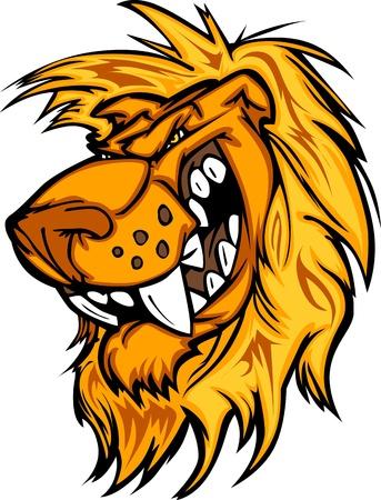leones: Le�n de la mascota con la imagen de vector de medias cara de dibujos animados
