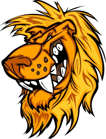 Lion Mascot with Mean Face Cartoon Vector Image Vettoriali