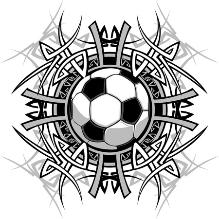 Graphic of a Soccer Ball with Tribal Borders Stock Vector - 12195973