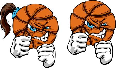 얼굴과 손에게 스케치 그림 파이팅과 함께 농구 공