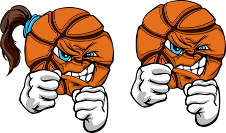 basketball ball: Basketball Ball with Face and Fighting Hands Sketch Illustration Illustration