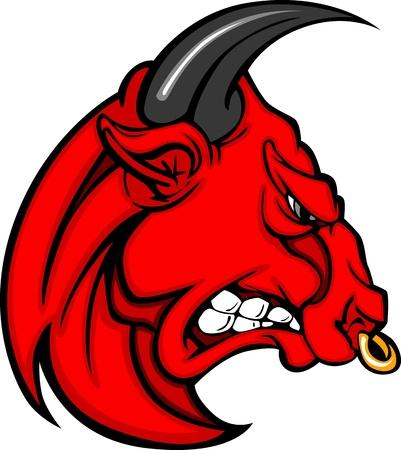 Bull Mascot Head Profile with Horns Cartoon Vector Image