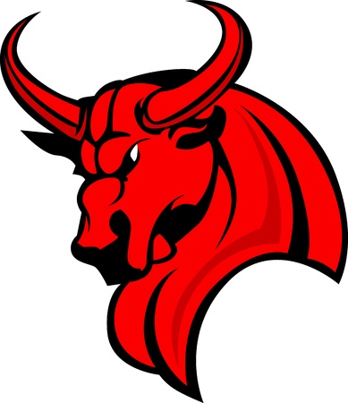 Bull Mascot Head Profile with Horns Graphic Vector Image