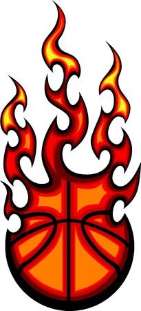 ballon basketball: Flaming balle de basket-ball Vectoriel combustion avec des flammes d'incendie