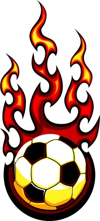 Flaming fútbol Vector Bola Imagen quema con llamas de fuego