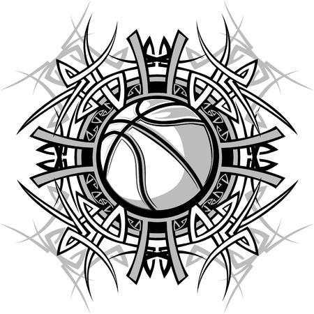 ballon basketball: Vector Graphic d'un base-ball avec des illustrations fronti�res tribales Illustration