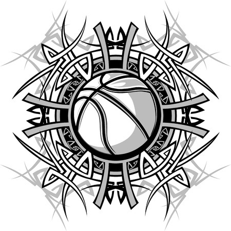 Vector Graphic of a Baseball with Tribal Borders Illustration
