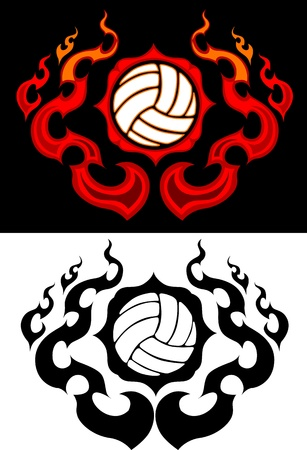 Flaming Volleyball Ball Tattoo Vector Image burning with Fire Flames Ilustração