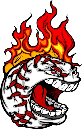 Flaming Baseball Ball Face Cartoon Vector Illustration
