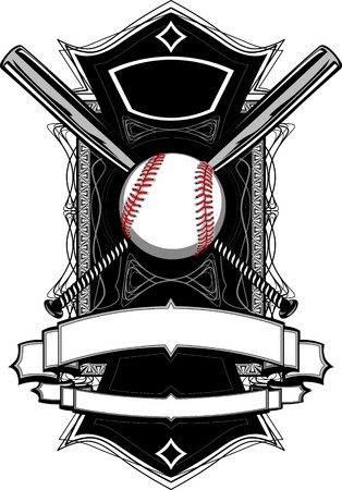 Baseball or Softball Illustration with Bats Ornate Graphic Vector Template Vector