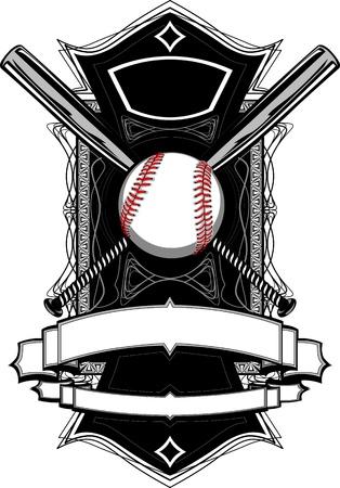 Honkbal of softbal Illustratie met Bats Sierlijke Grafische Vector sjabloon