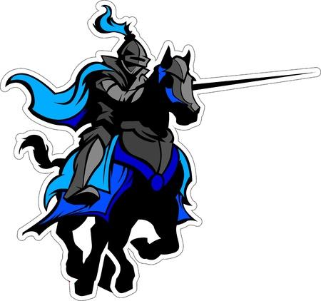 Ritter mit Rüstung auf einem Pferd und Fechten