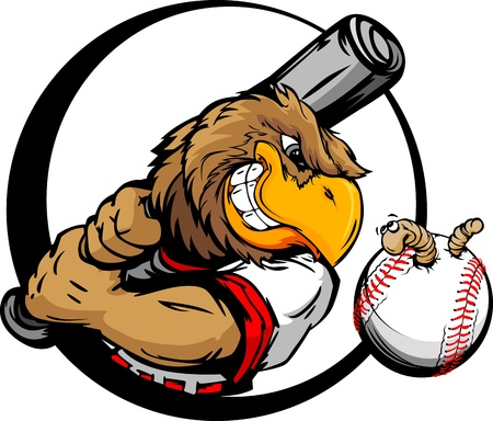 Baseball Cartoon Early Bird Batter with Bat and Ball with Worm Vector Illustration Vettoriali