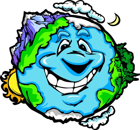 Cartoon Vector Image of a Happy Smiling Planet Earth with Mountain and Ocean  Stock Vector - 12483927