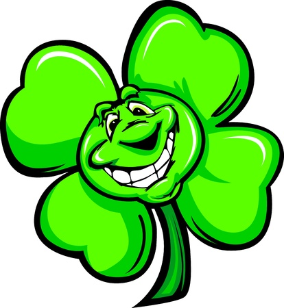 Cartoon Vector Illustration of a Happy Smiling Four Leaf Clover on St Patricks Day Vector