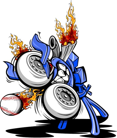 Cartoon Vector Illustration of a Monster Baseball Pitching Machine with a huge engine and flaming exhaust pipes Vector