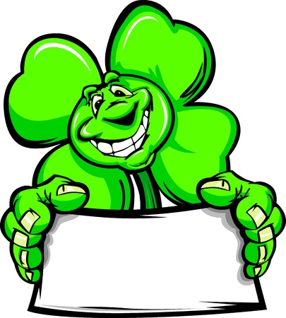 Cartoon Vector Illustration of a Happy Smiling Four Leaf Clover holding a Sign on St Patricks Day Vector
