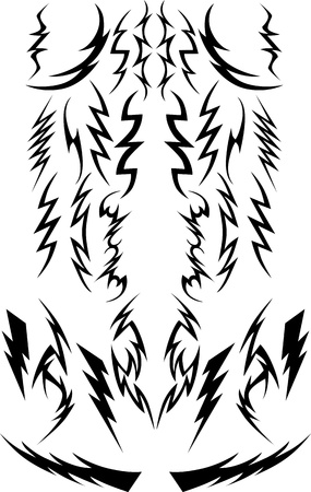 Vector Beelden van een verscheidenheid van Lightning Bolts
