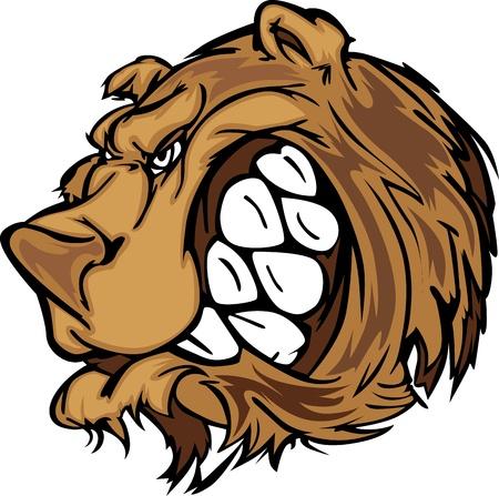 Cartoon Vector Mascot Image of a Black Bear Head Illustration