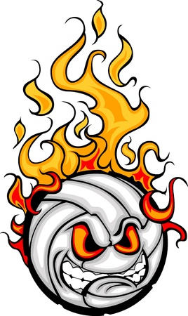 Flaming Volleyball Ball Face Cartoon Illustration Vector Vector