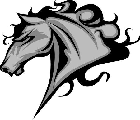 cabeza de caballo: Mascota Gráfico Imagen vectorial de un caballo Mustang Bronco