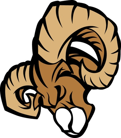 Ram Graphic Mascot Head with Horns