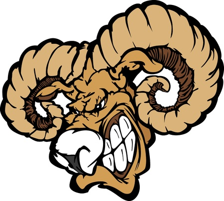 rams horns: Angry Cartoon Ram Mascot Head with Horns Illustration