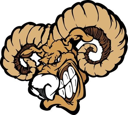 cabra montes: Ram enojado Cartoon mascota Cabeza con cuernos