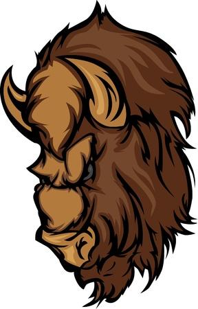Grafische Mascot Afbeelding van een Cartoon Buffalo Bison hoofd