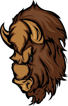 Graphic Mascot Image of a Cartoon Buffalo Bison Head Vector