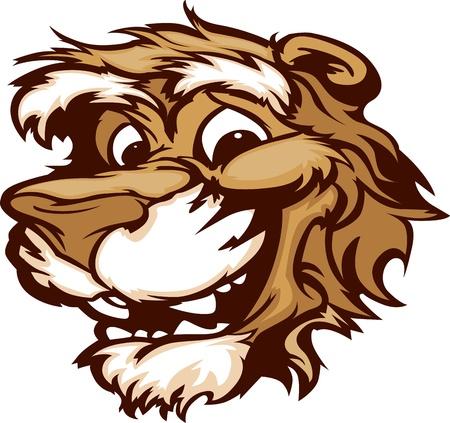puma: Puma Mascot Cougar con cute immagine Vector Cartoon Viso