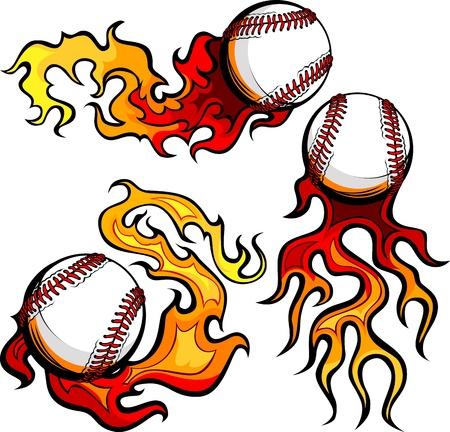 softbol: Pelotas de b�isbol el deporte de gr�ficos de vectores de la imagen con las llamas
