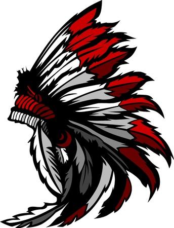 head-dress: Graficzny Native American Indian Chief stroik Ilustracja