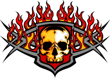 lángok: Grafikus koponya vektor kép sablon lángok Illusztráció