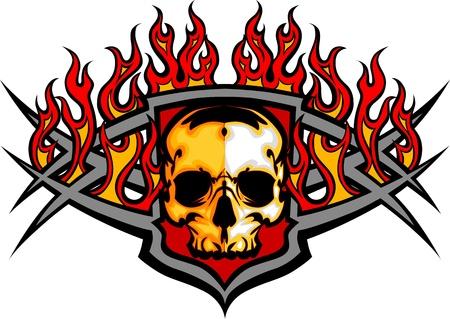 flammes: Graphic mod�le d'image vectorielle cr�ne avec des flammes